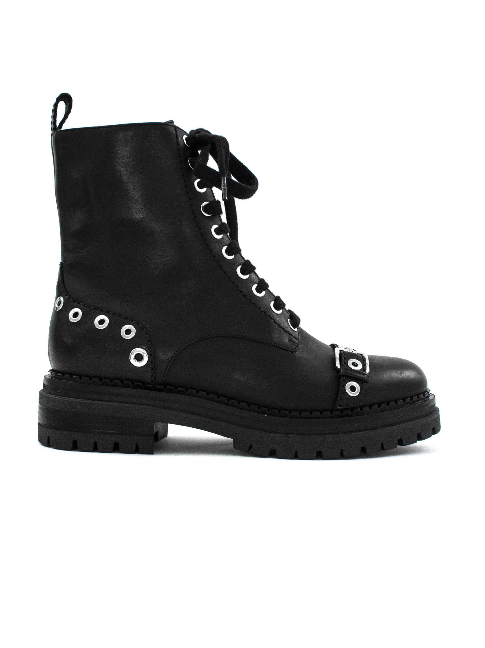 sergio rossi -  Black Leather Lace-up Boots.