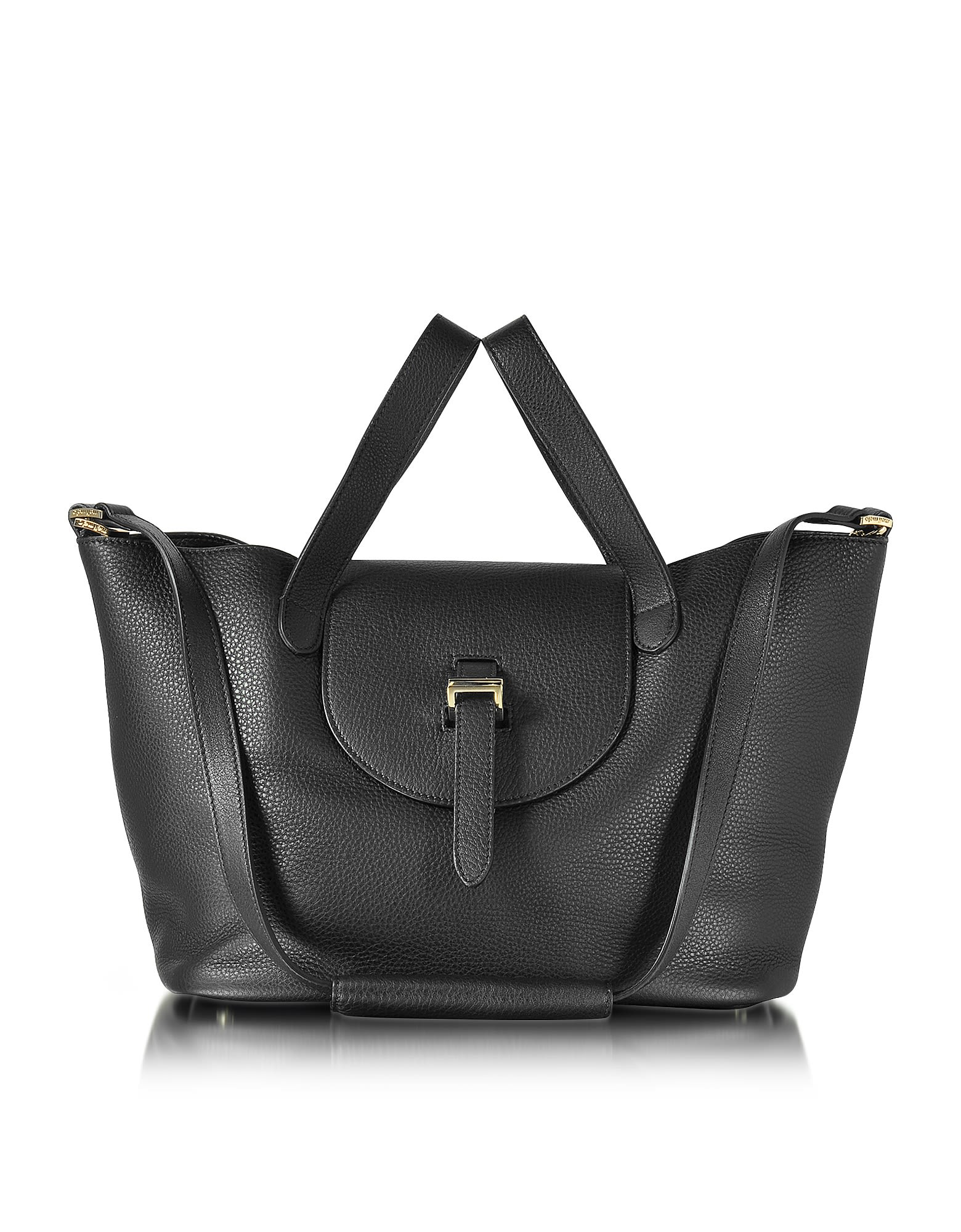 Meli Melo BLACK LEATHER THELA MEDIUM TOTE BAG