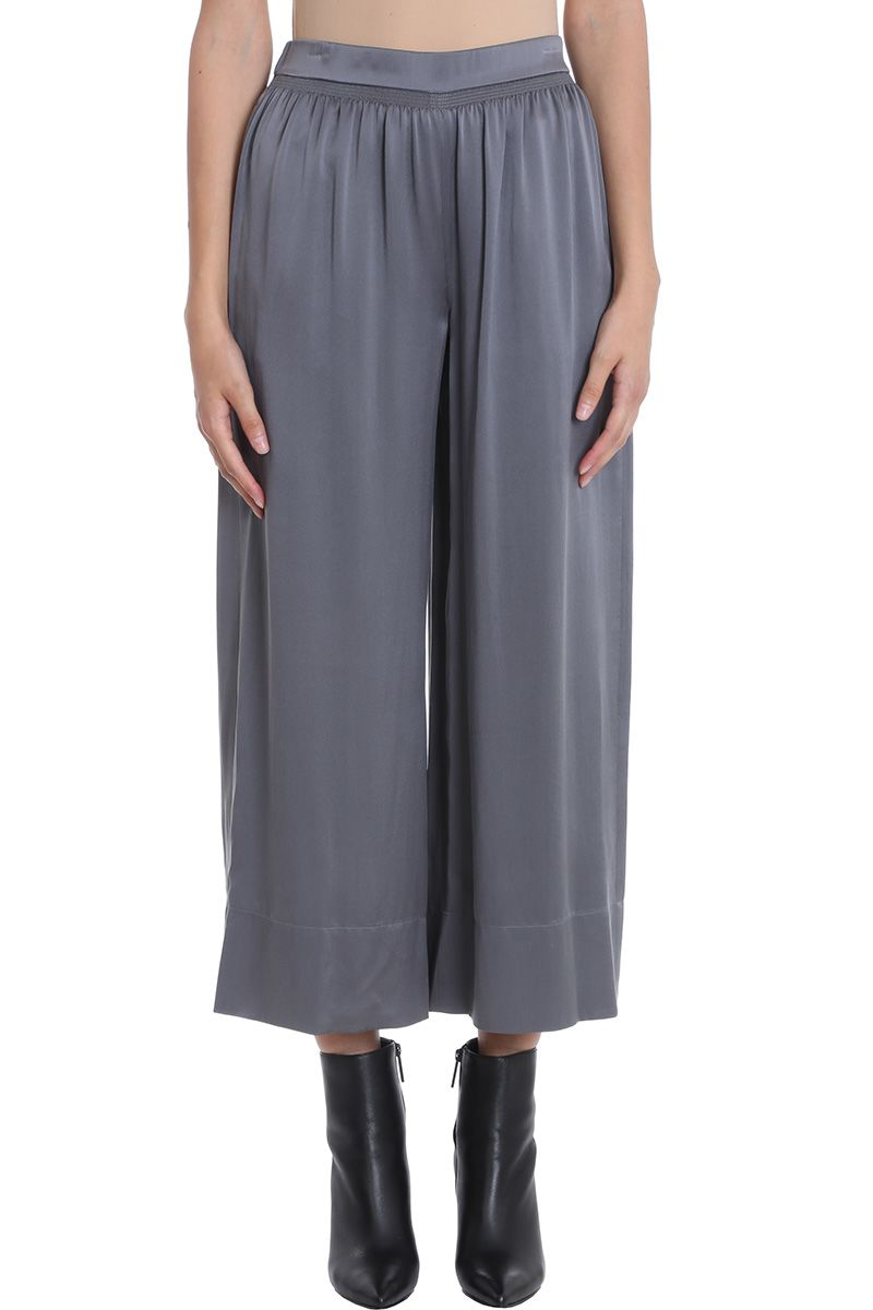 Theory Grey Silk Satin Smocked Culotte