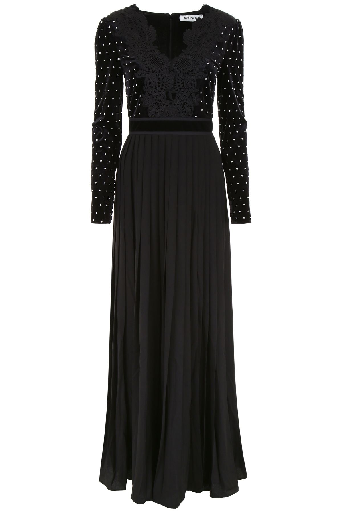 self-portrait Dress With Lace Neckline