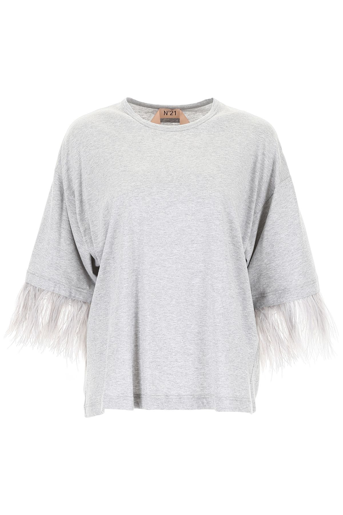 N.21 T-shirt With Ostrich Feathers