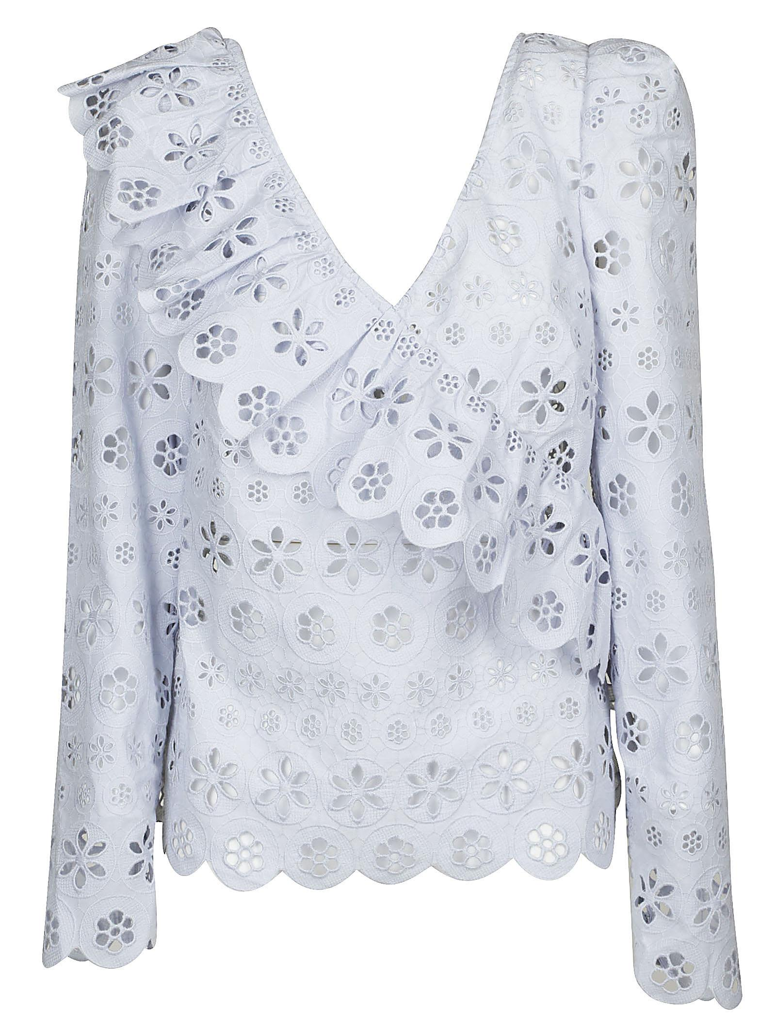 Self-portrait Floral Broderie Frill Blouse