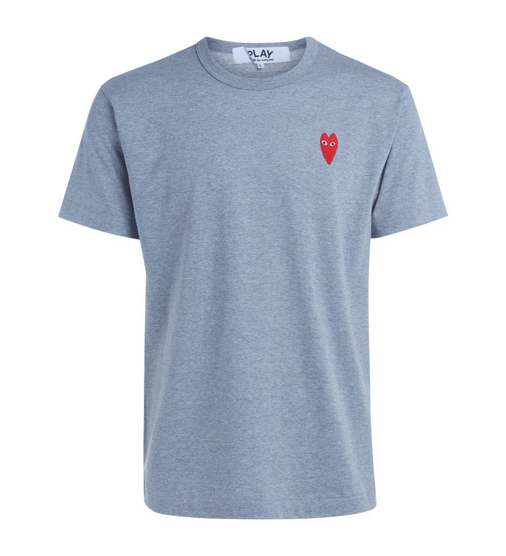 T-shirt Comme Des Garçons Play Grigia Melange Con Cuore Rosso