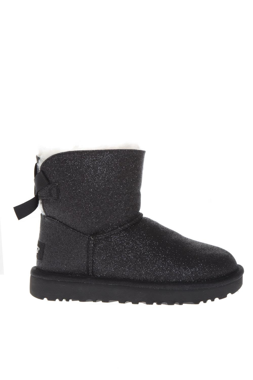 UGG Black Sheep Leather Mini Bailey Sparkle Boots