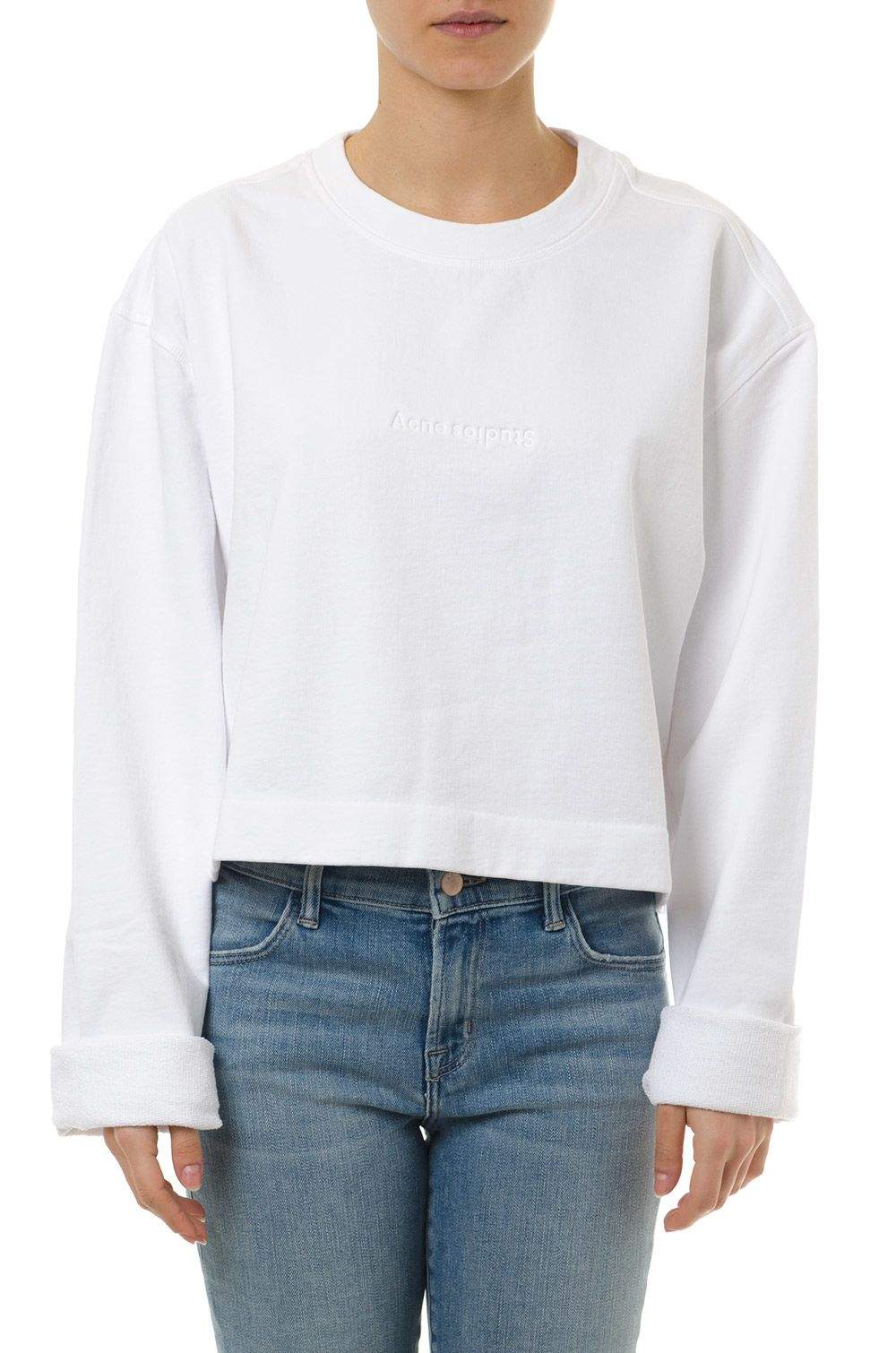 Acne Studios White Cotton Logo Sweatshirt
