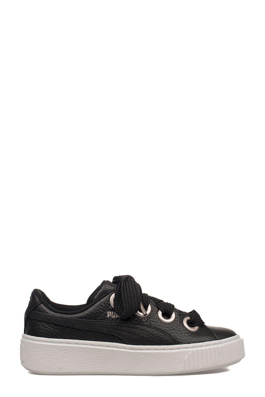 Puma Black Platform Kiss Leather Sneakers