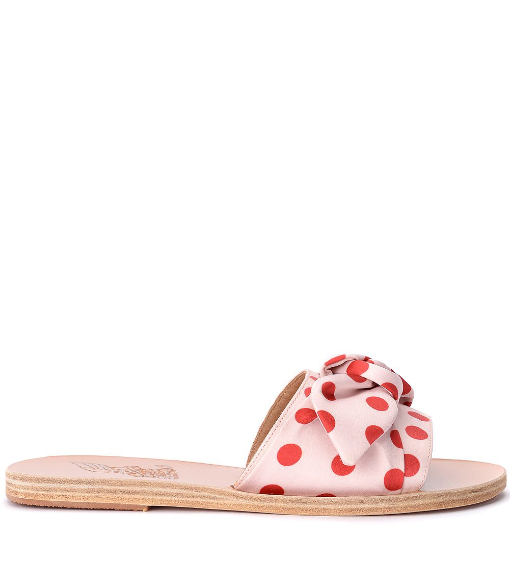 Ancient Greek Sandals Taygete Red And Pink Fabric Slippers