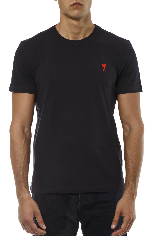 Ami Alexandre Mattiussi Blue Navy Cotton T-shirt
