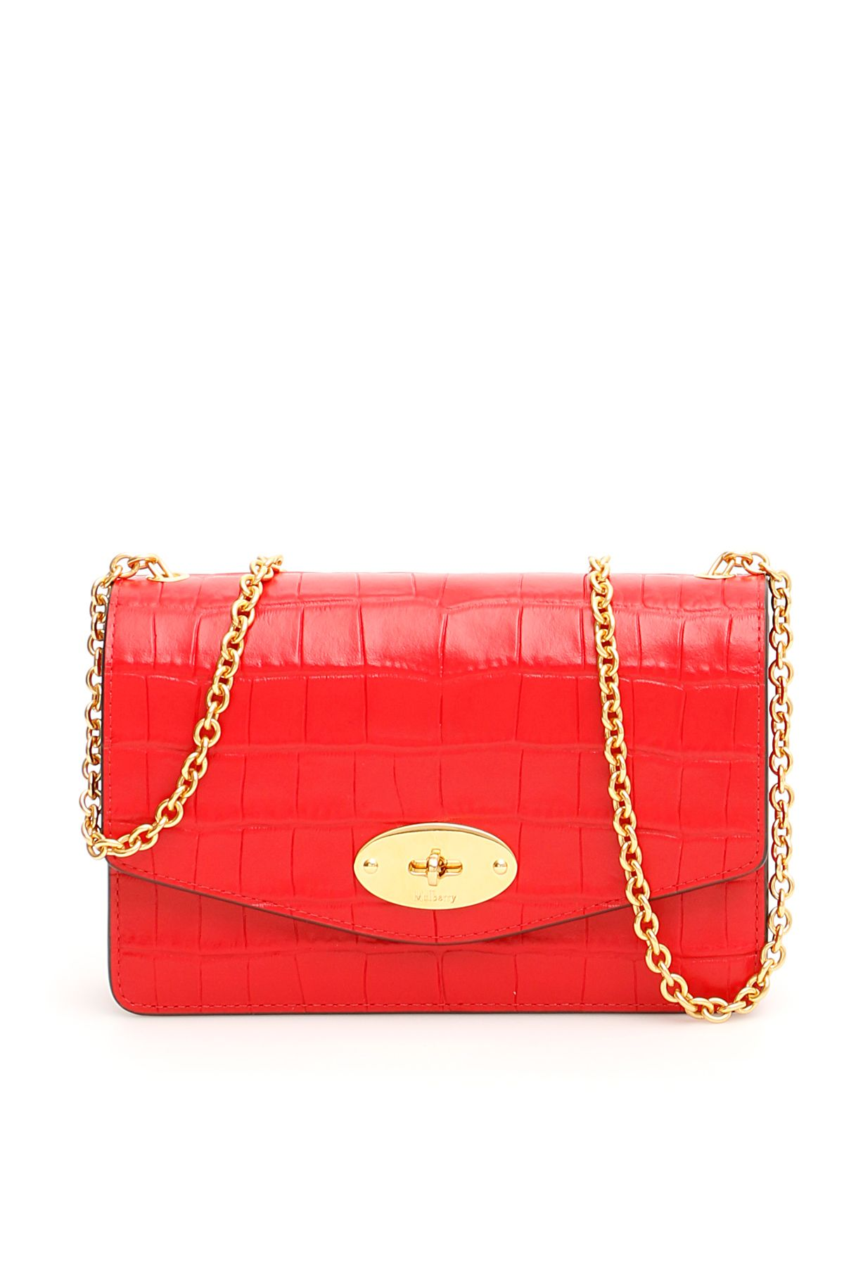 Croc Print Small Darley Bag in Ruby Red