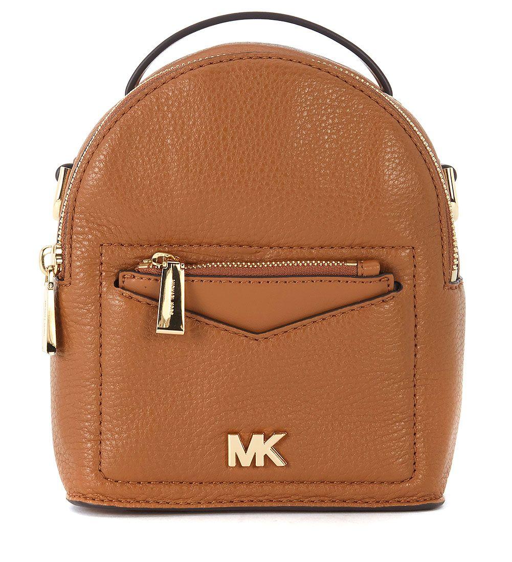 michael kors -  Jessa Brown Tumbled Leather Mini Backpack
