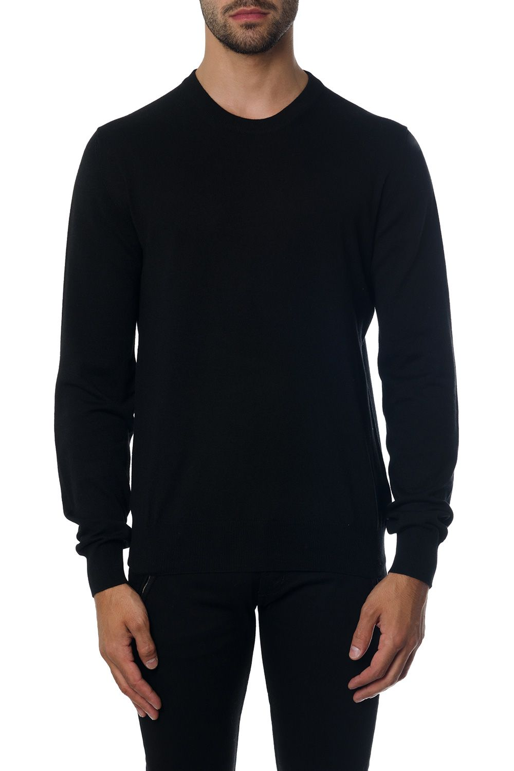 Maison Margiela Black Mixed Fabric Knitwear With Suede Patches Details