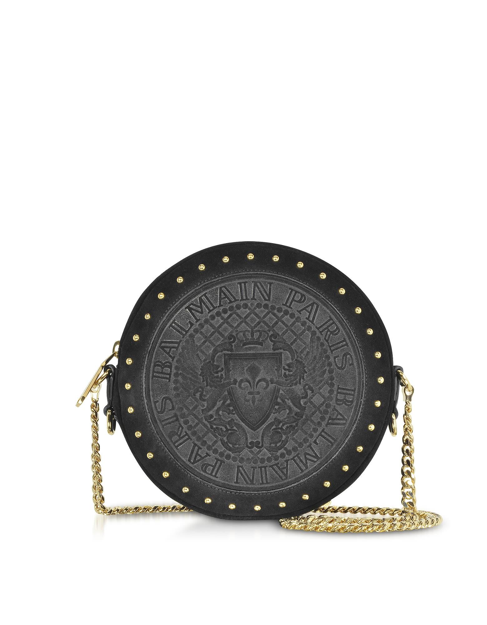 Balmain Black Leather Suede Effect Disco Bag W/studs