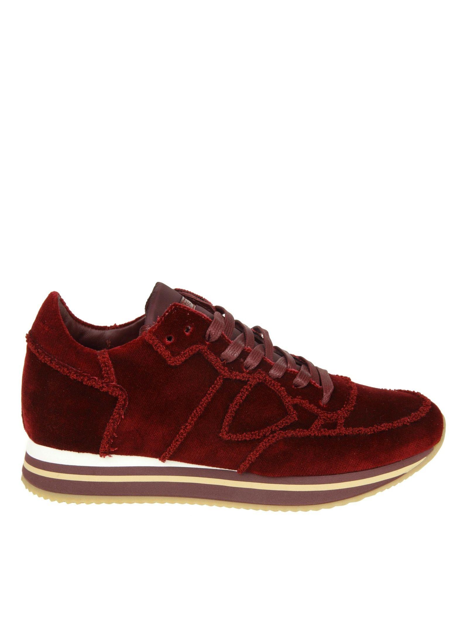 "Philippe Model Sneakers ""tropez Higher"" In Velvet Color Bordeaux"
