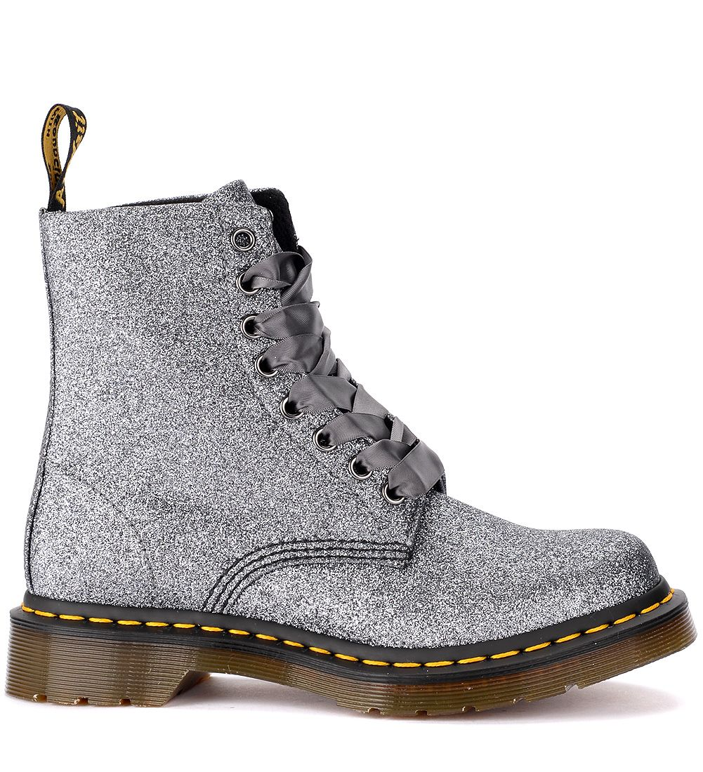 Dr. Martens Pascal Ankle Boots In Pewter Glitter And Satin Laces