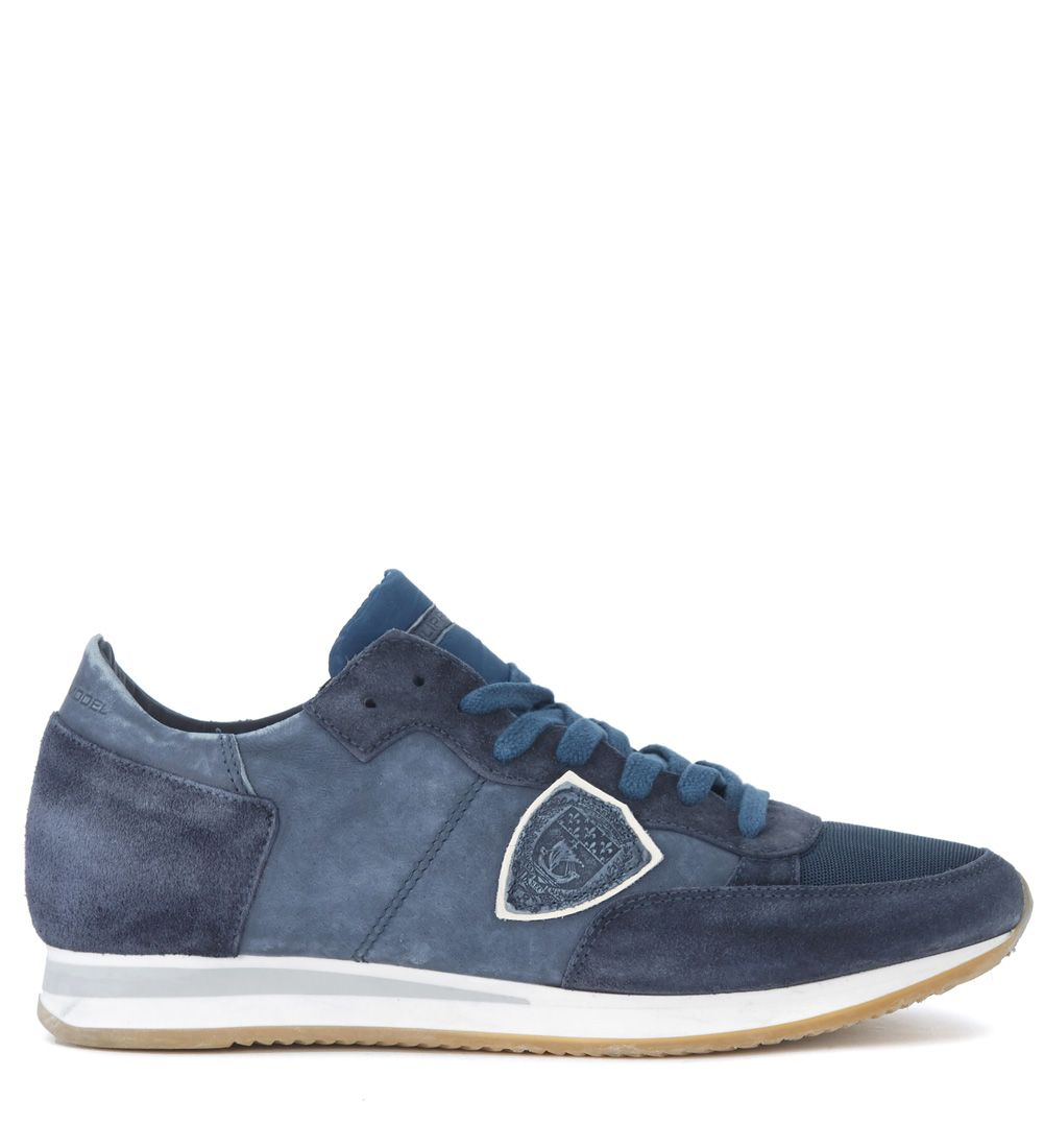 Philippe Model Tropez Blue Leather And Suede Sneaker