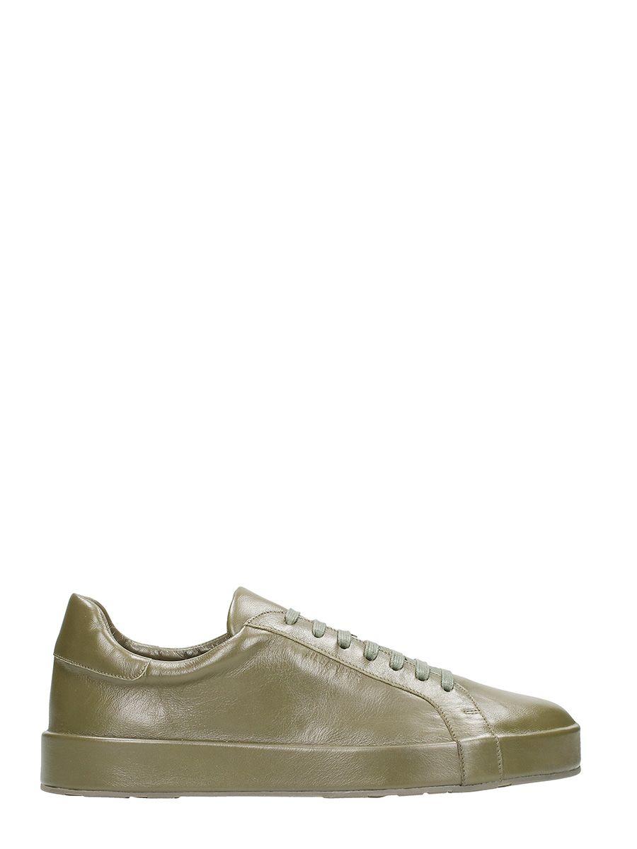 Jil Sander Leather Khaki Sneakers In Green