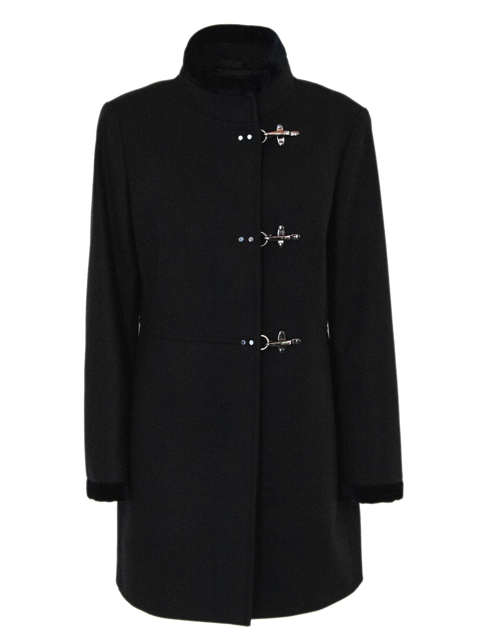 Fay Virginia Coat In Black Cashmere Wool Mix.
