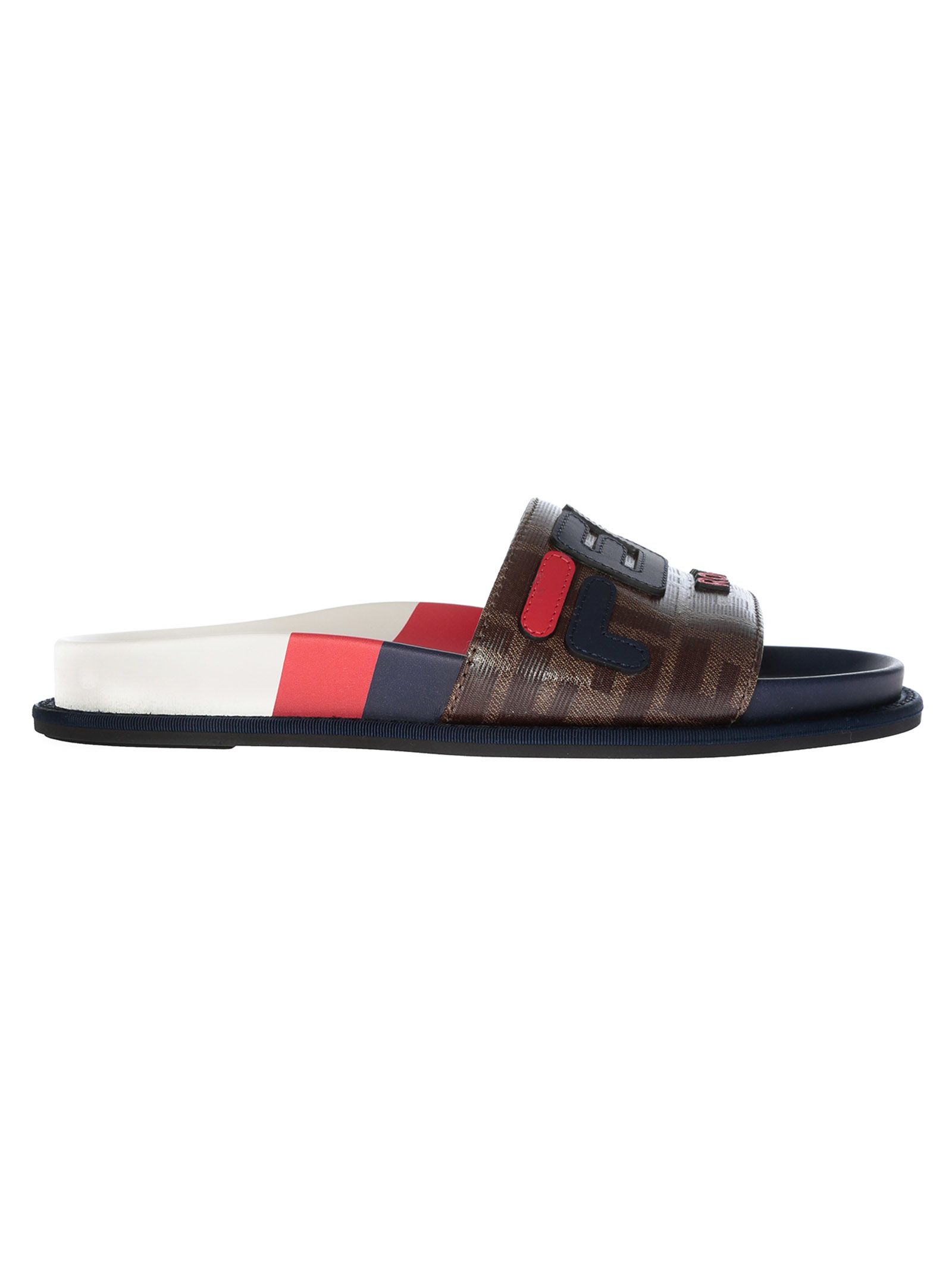 Fendi Logo-AppliquÉD Printed Coated-Canvas And Rubber Slides In Brown