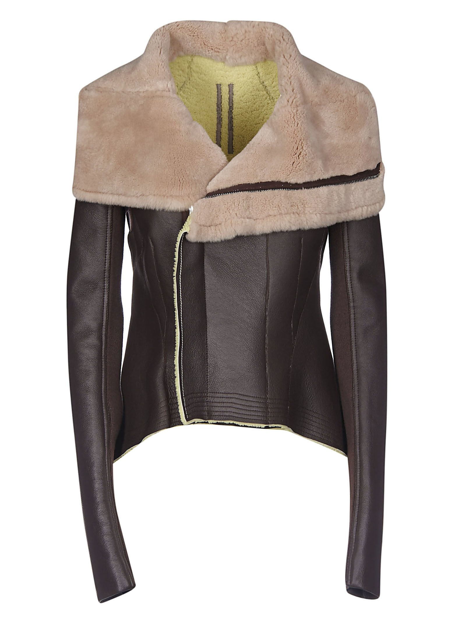 Rick Owens Fur-detailed Biker Jacket