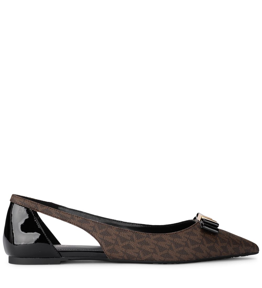 Michael Kors Carlson Flat Brown Rubber Fabric And Black Patent Leather Flat Shoes