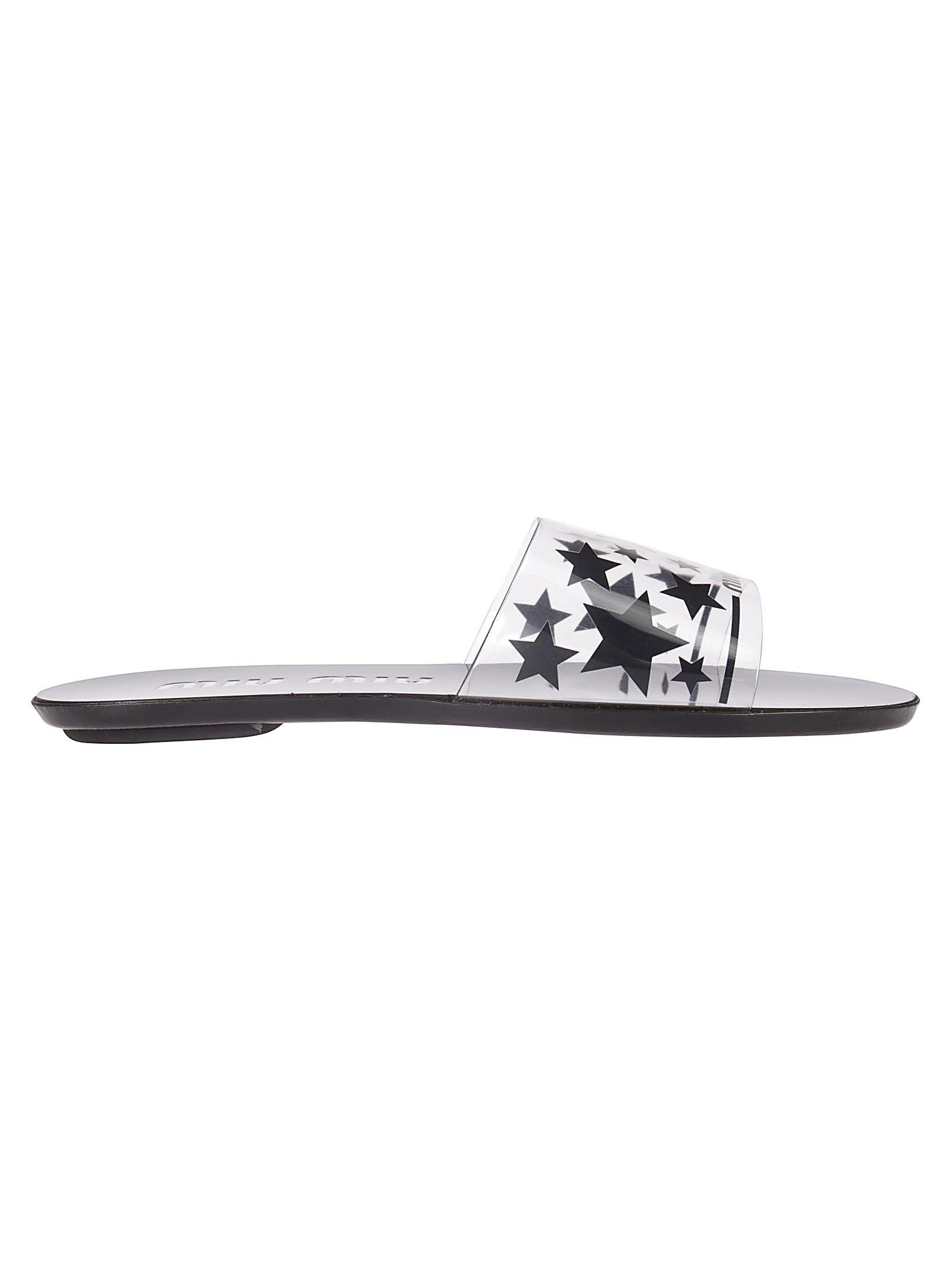 Miu Miu Star Print Flat Sandals