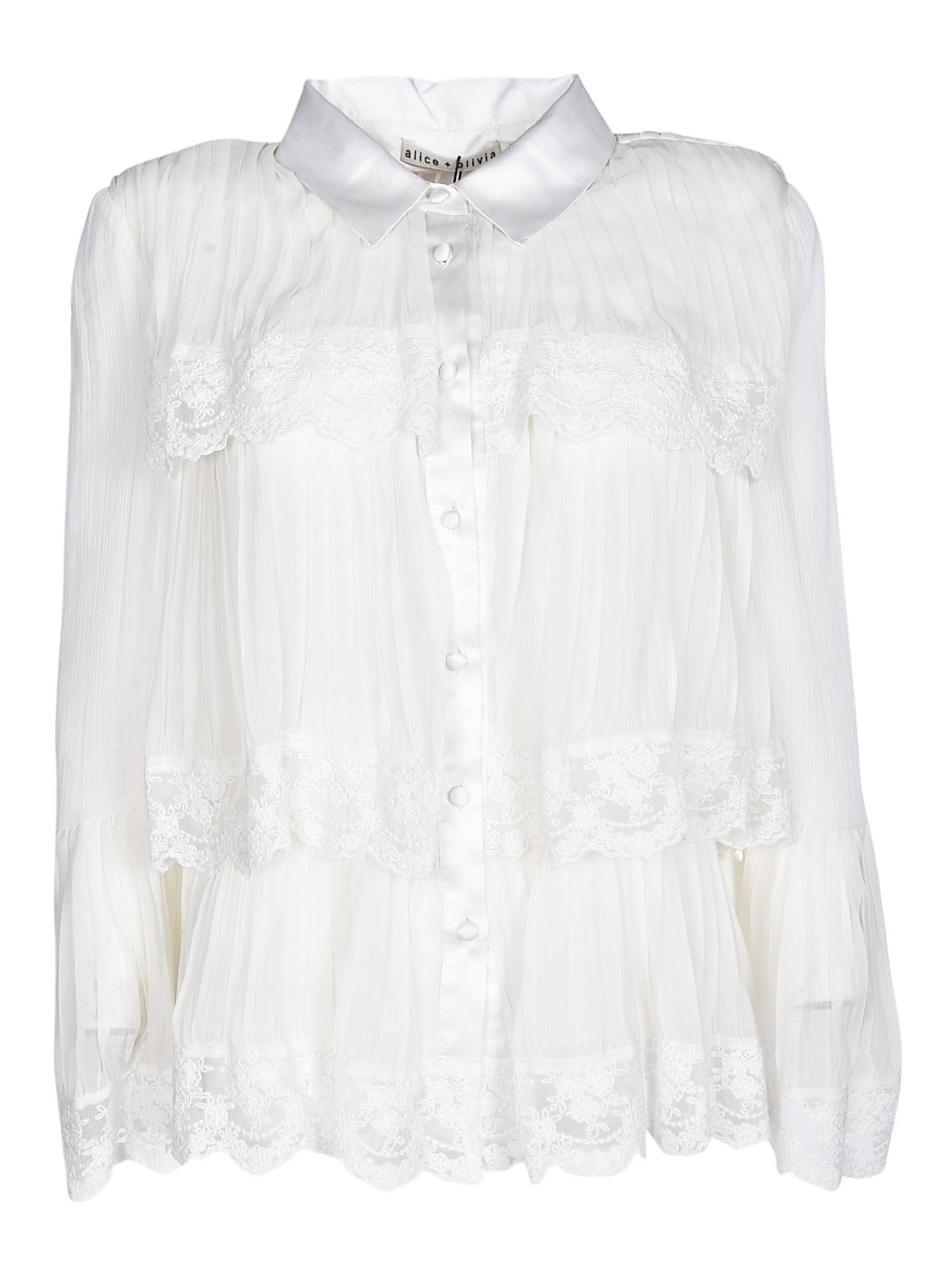 Alice+olivia Tiered Lace Trim Shirt