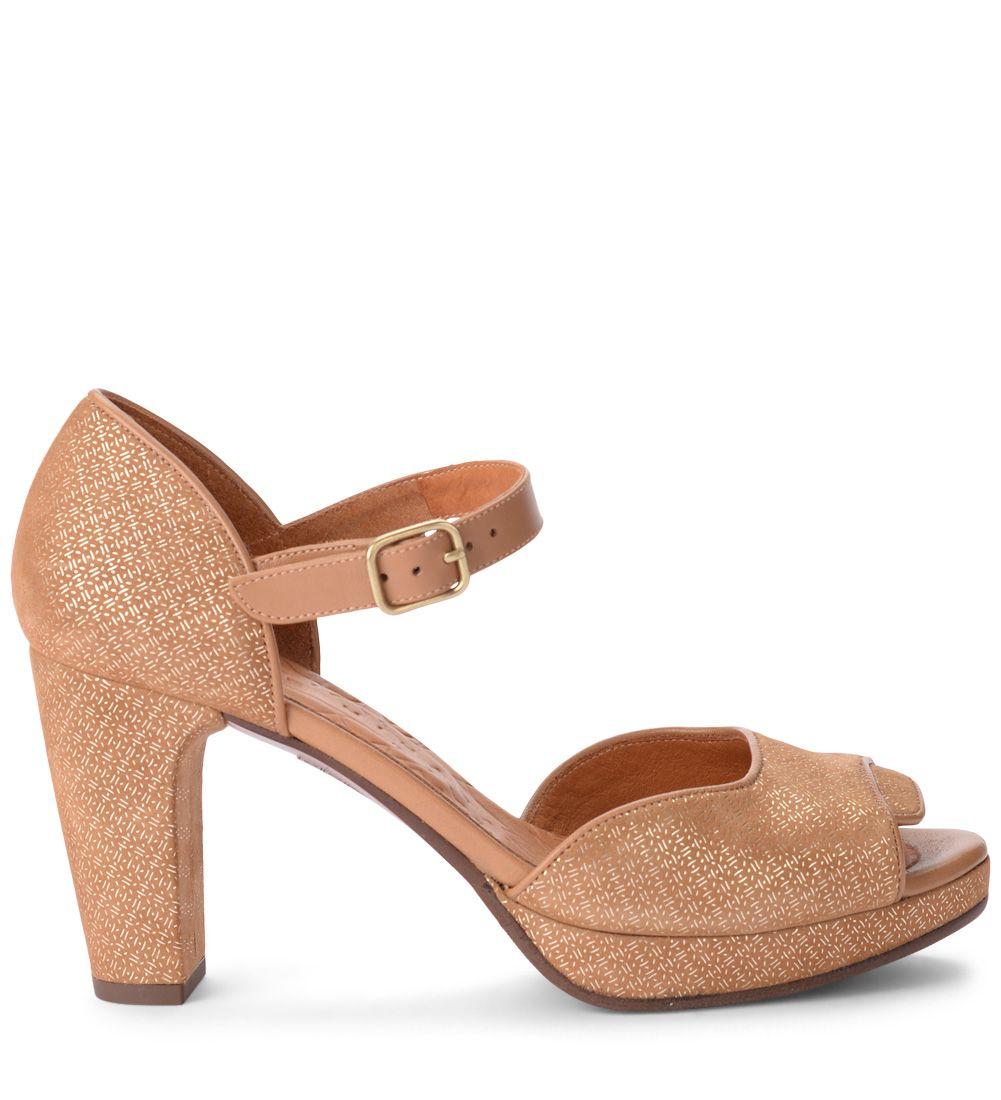Chie Mihara Gilio Light-brown Printed Suede Heeled Sandal.