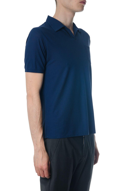 Zanone Cotton Polo Shirt In Blue Color