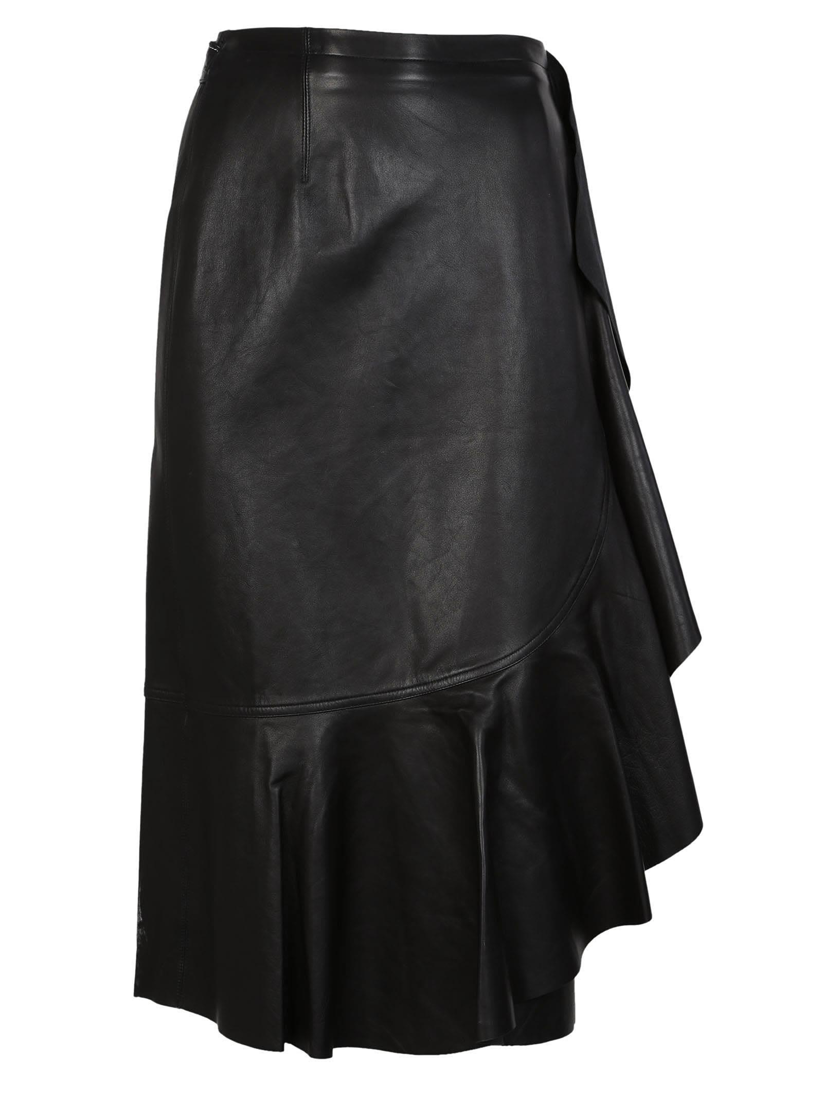 helmut lang -  Leather Ruffle Skirt