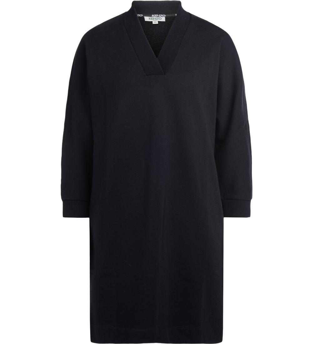 Kenzo Black Cotton Maxi Fleece Dress