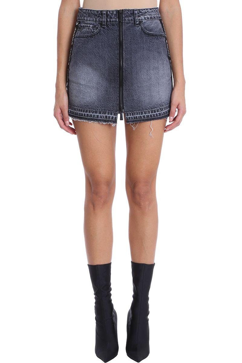 Marcelo Burlon Black Wash Denim Skirt