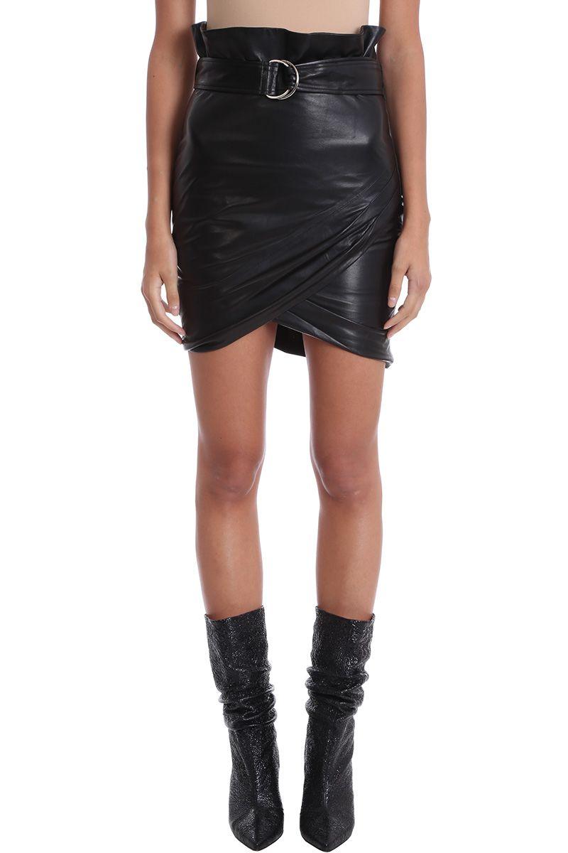 iro -  Magma Black Leather Skirt