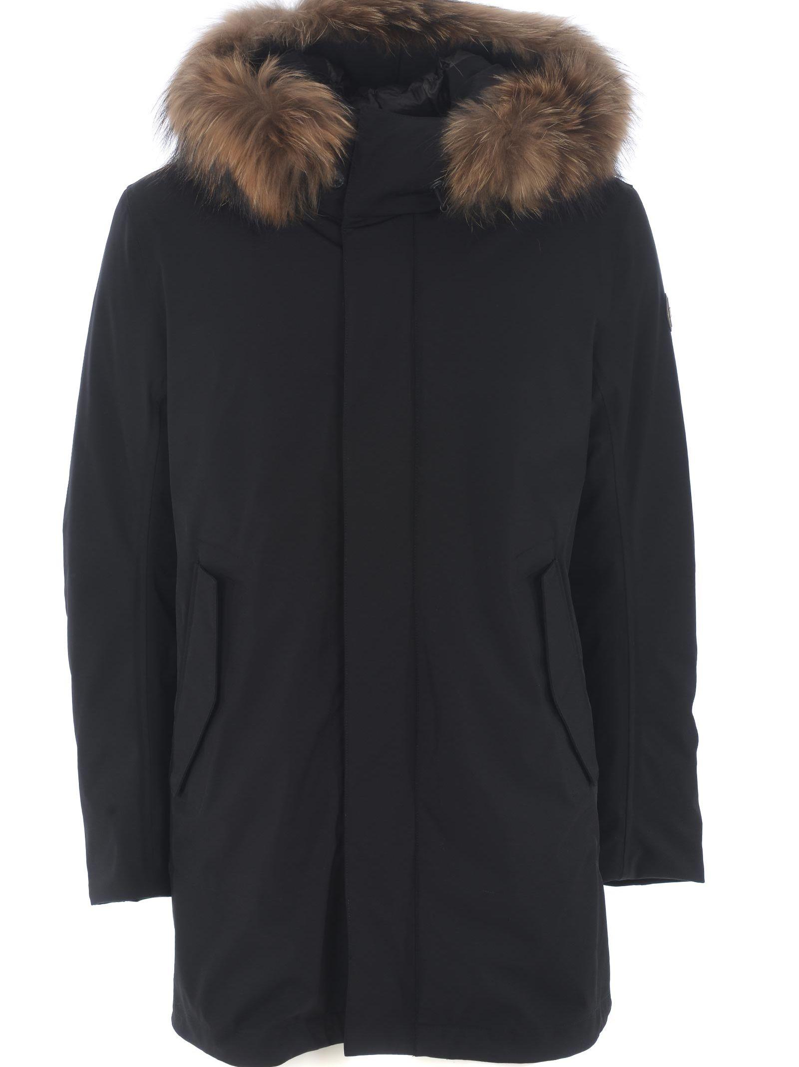 Colmar Fur-trim Hooded Coat
