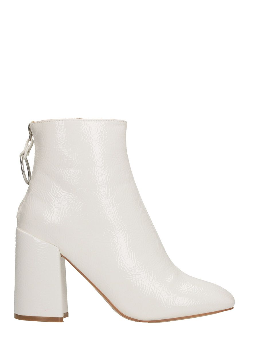 steve madden -  Posed Patent White Leather Bootie