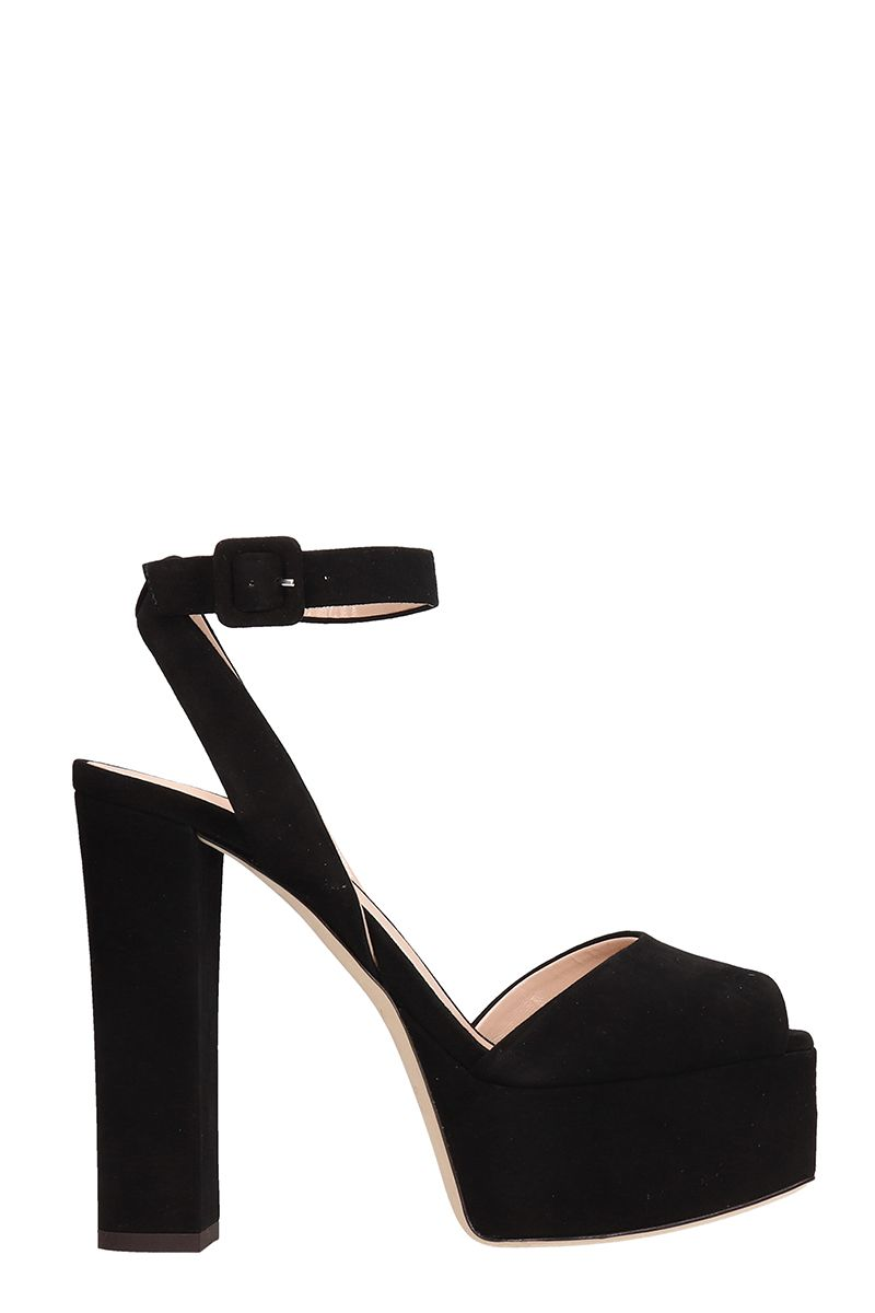 Giuseppe Zanotti Betty Black Suede Platform Sandals