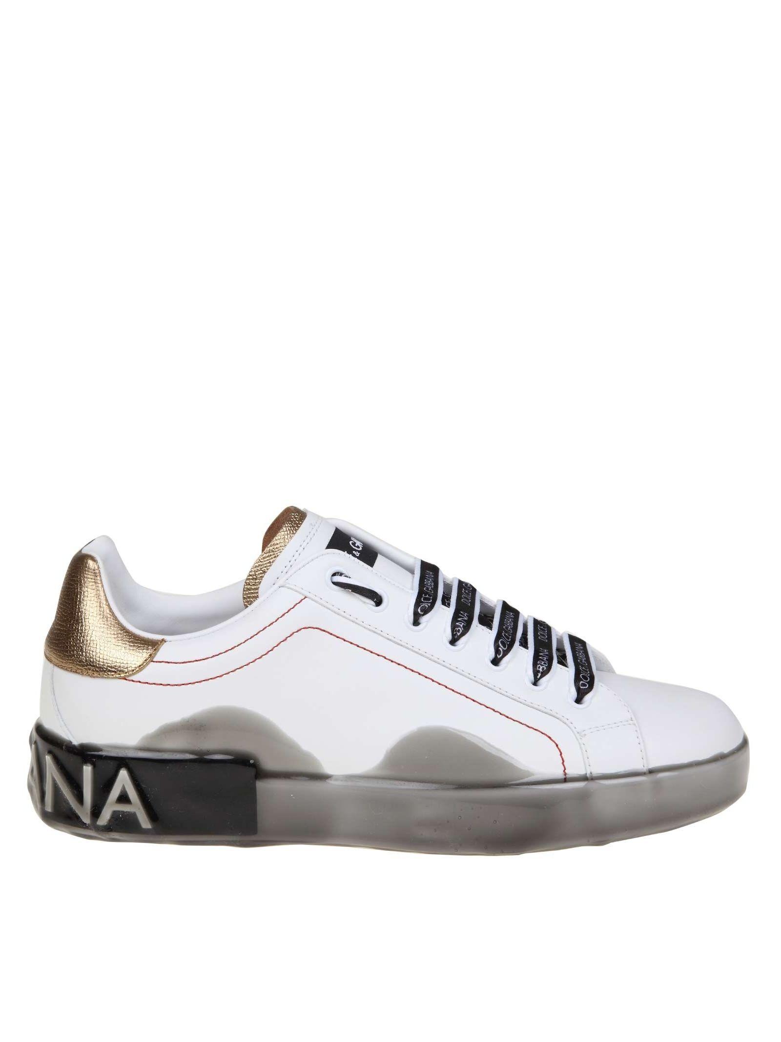 Dolce & Gabbana Portofino Sneakers In White Leather