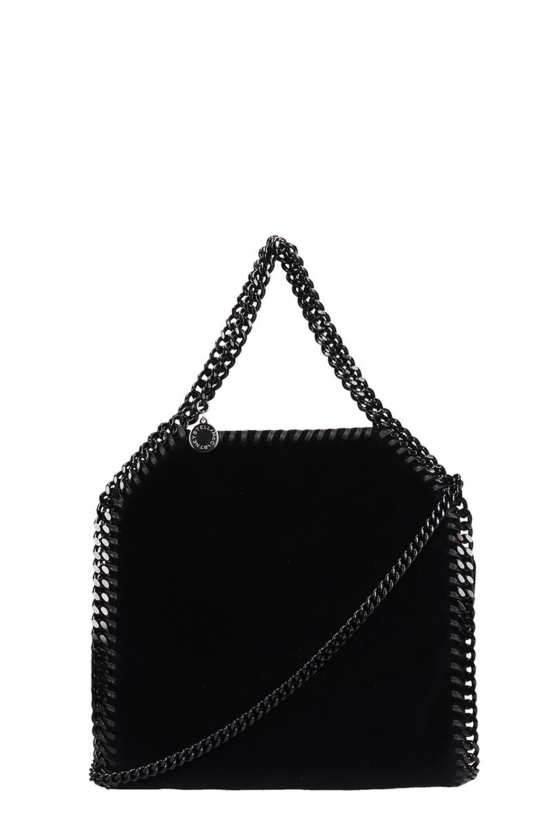 Stella McCartney Black Velvet Falabella Crossbody Bag