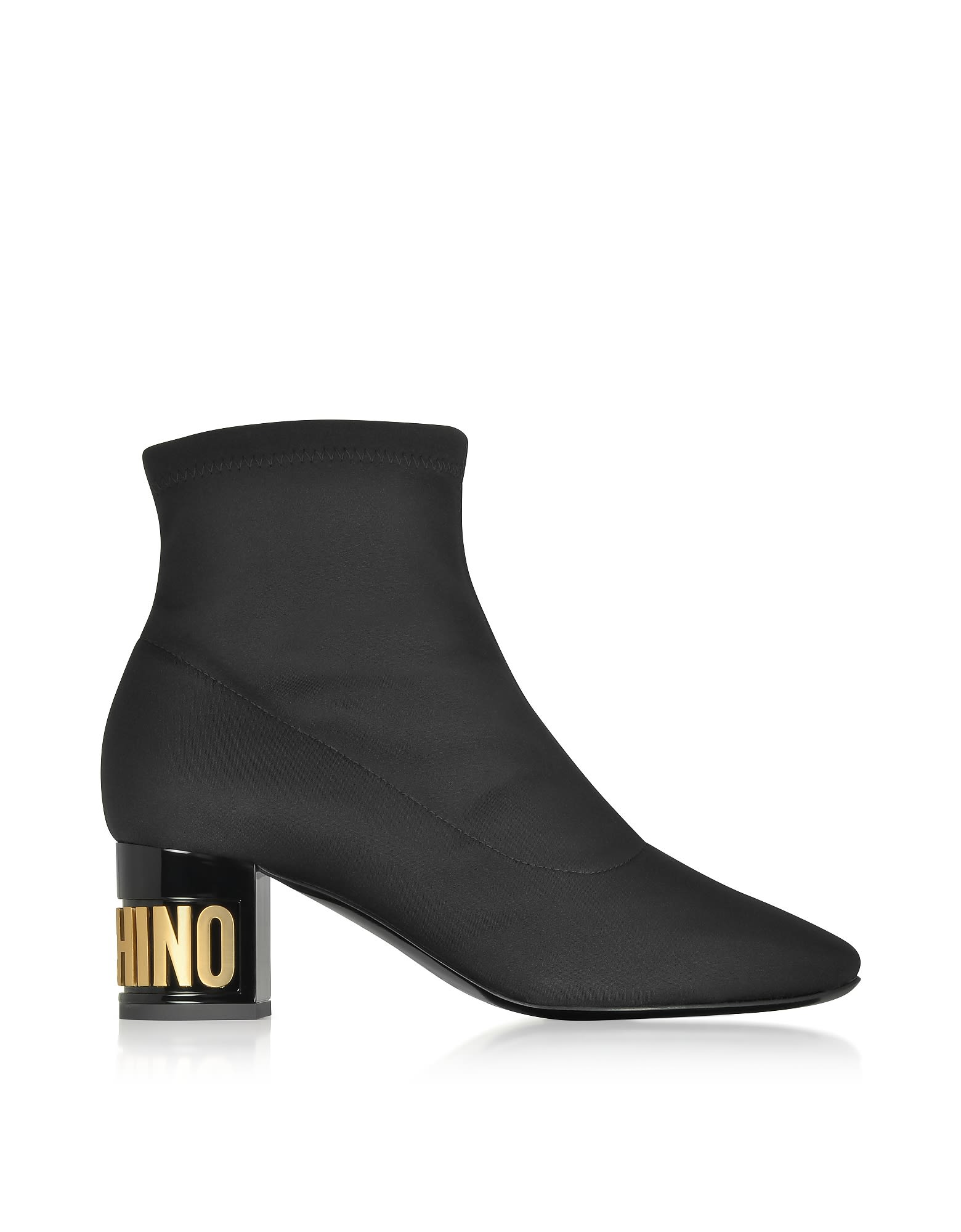 Moschino Black Neoprene Ankle Boots W/signature Heel
