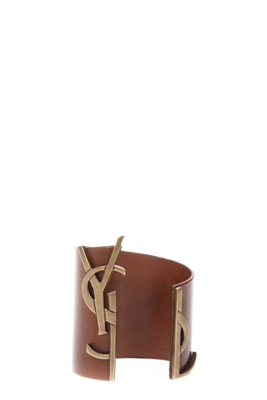 Saint Laurent Brown Leather Rigid Bracelet With Logo