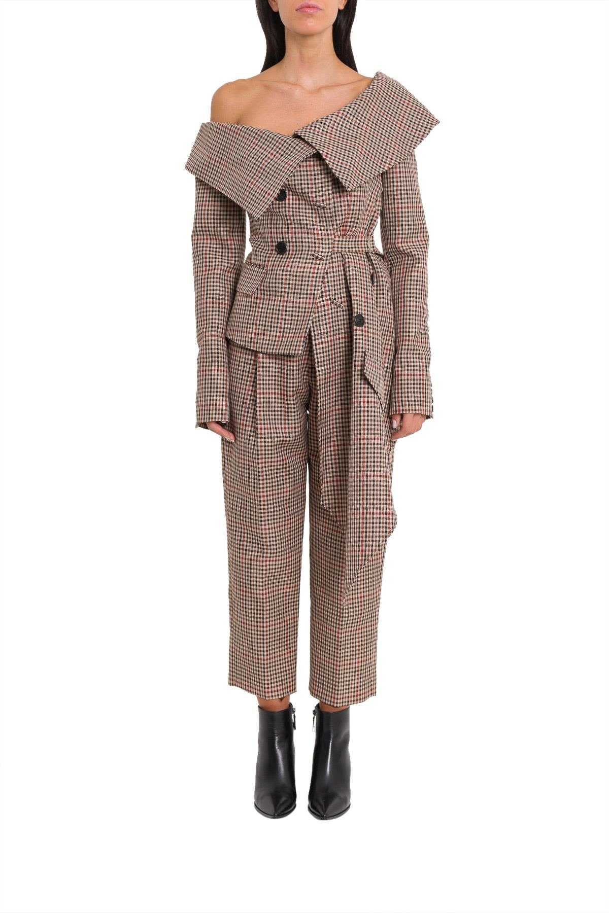MONSE Asymmetrical Checkered Jacket