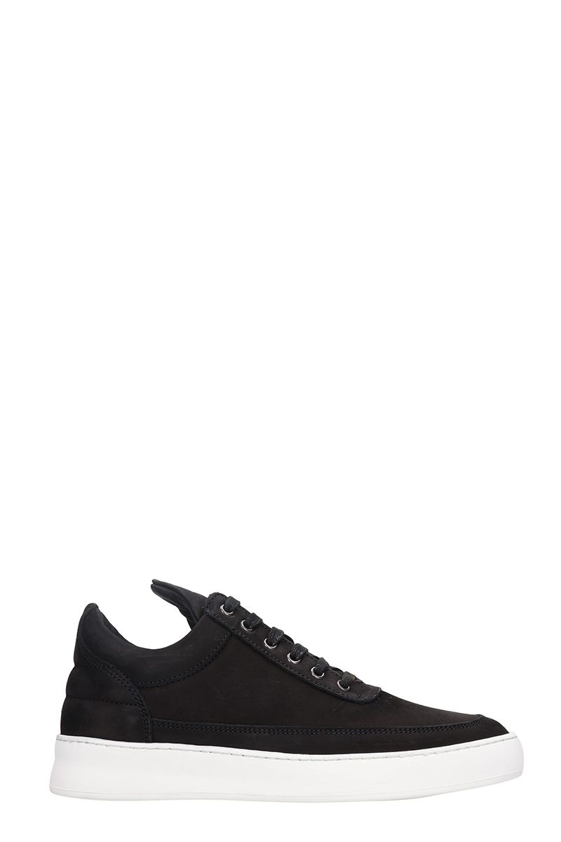 Filling Pieces Low Top Black Nabuk Sneakers