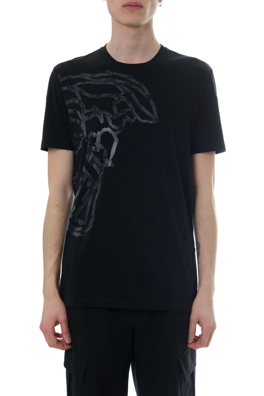 Versace Collection Black Cotton T-shirt With Medusa Print