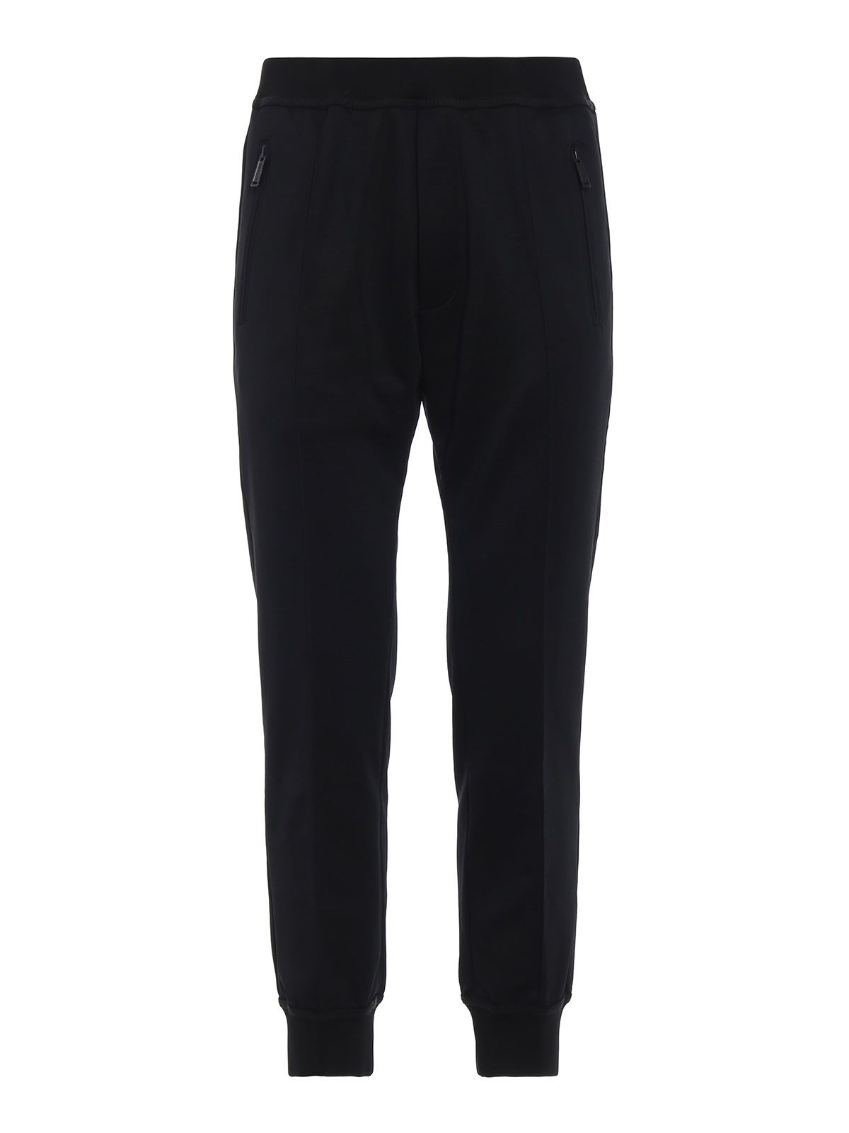 Dsquared2 Glossy Cotton Blend Black Sweatpants
