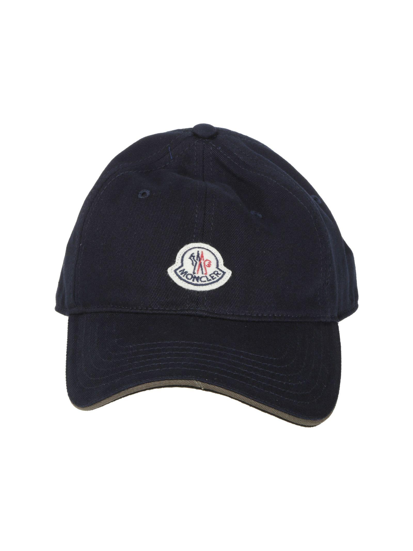 Moncler Logo Patch Baseball Cap In Dark Blue  a04d1a3e3019