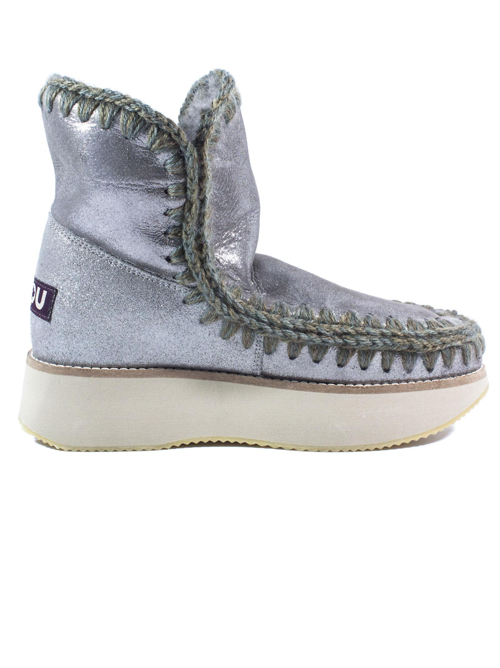 Mou Running Eskimo 18 In Microglitter Charcoal Sheepskin.