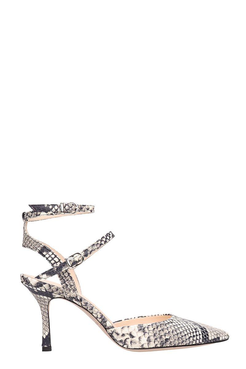 marc ellis -  Gray Snake Print Leather Sandals