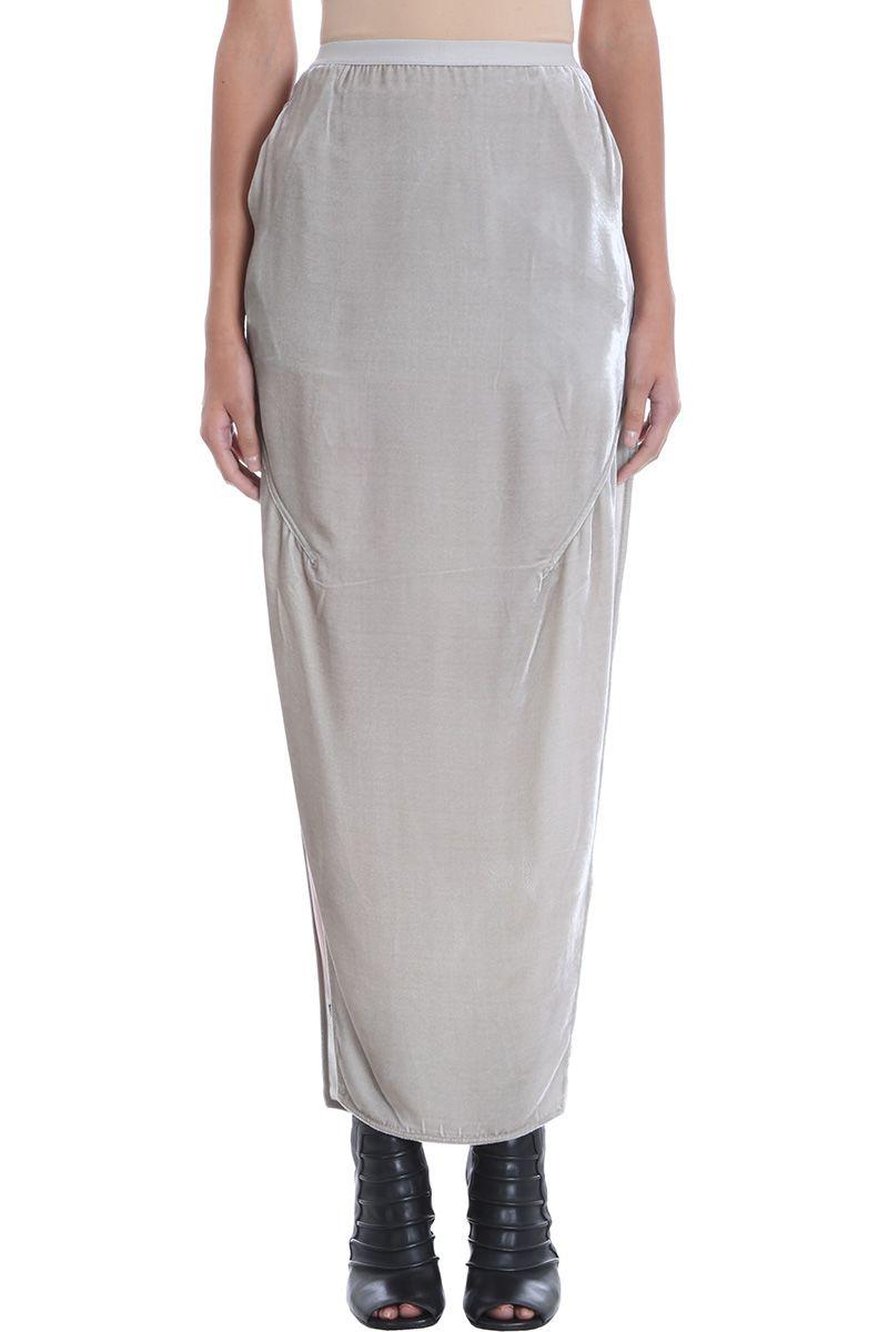 Rick Owens Long Pearl Velvet Skirt