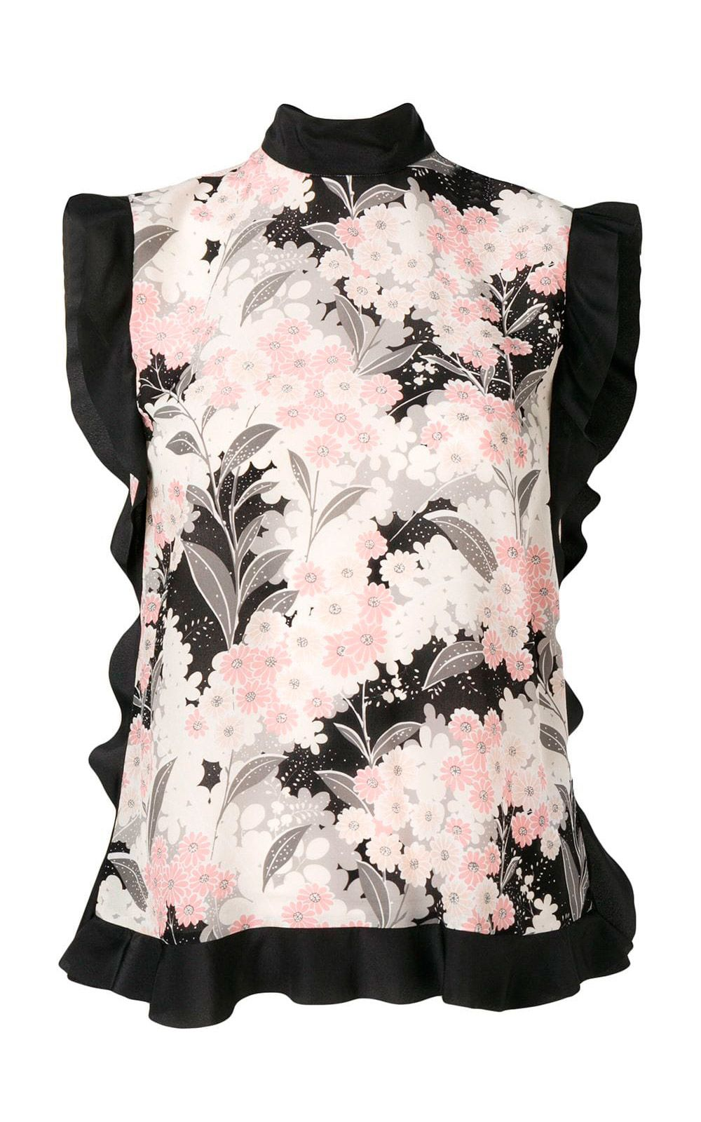 RED Valentino 'lunar Daisy'-print Ruffled Silk And Crepe Top