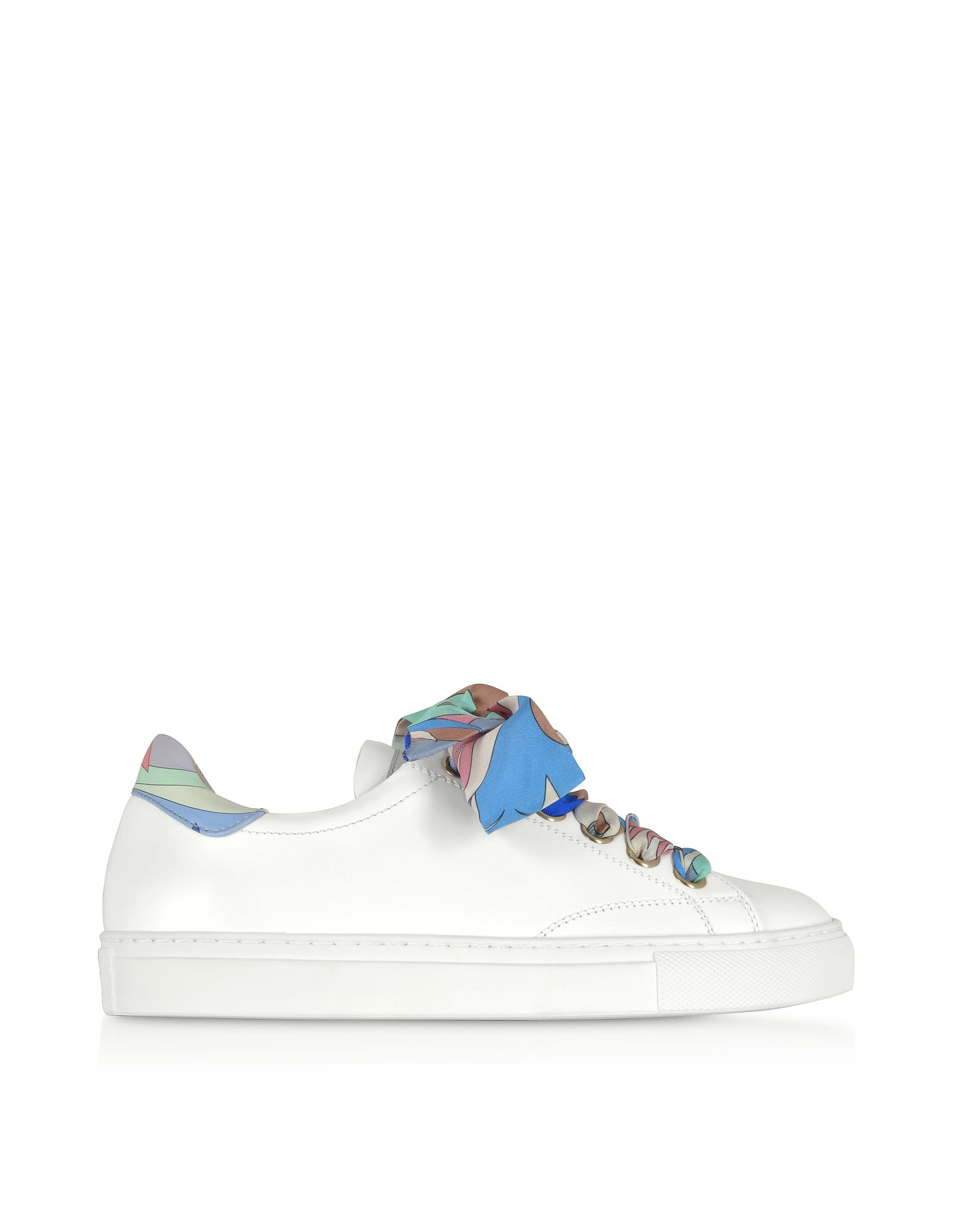 a49612818a4 Emilio Pucci White Leather Low-top Sneakers W silk Printed Laces