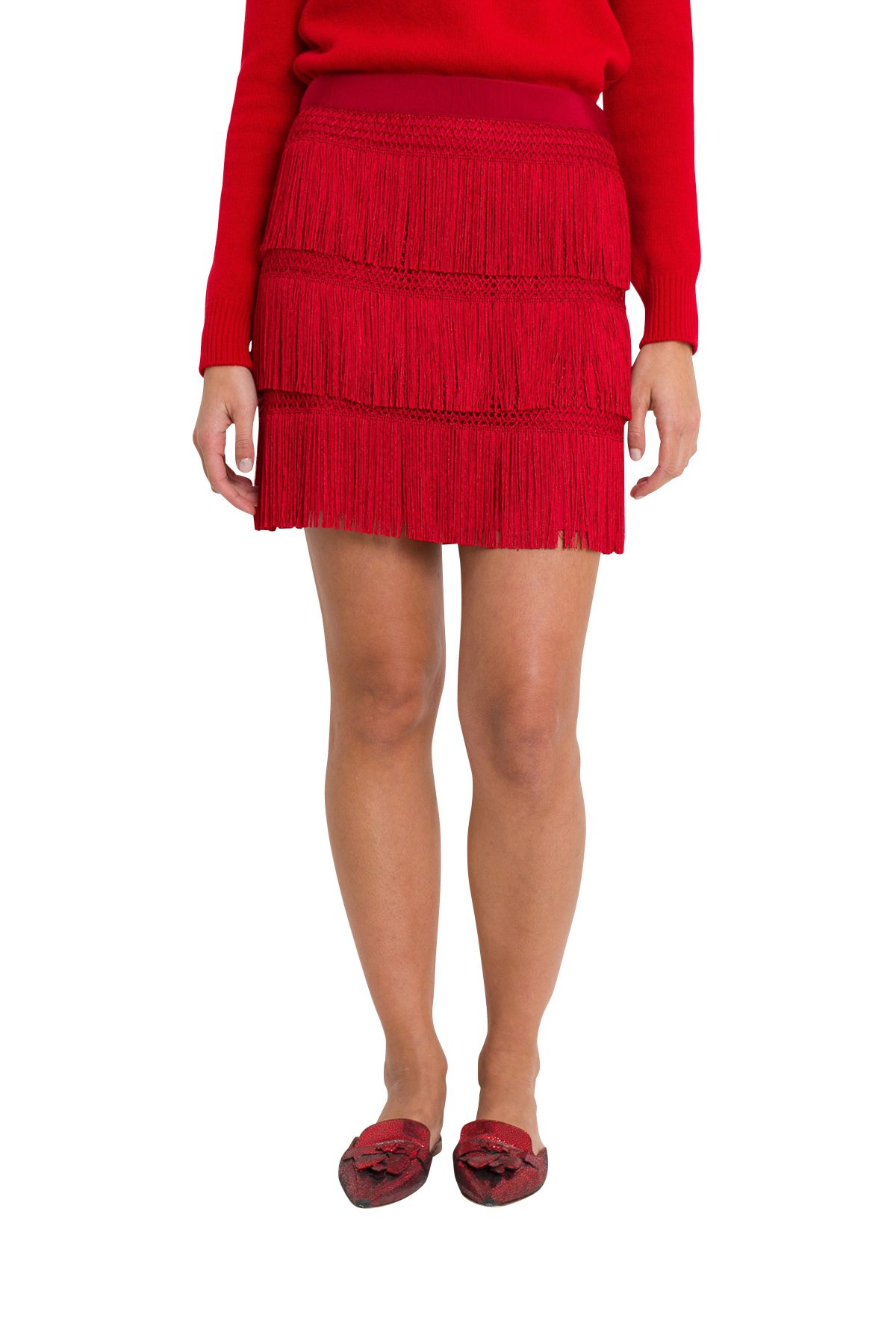 Alberta Ferretti Fringe Miniskirt